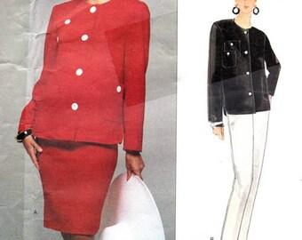 Vogue 1308 Bold Bill Blass Designer Jacket, Skirt & Pants / 1994 SZ12-16 UNCUT