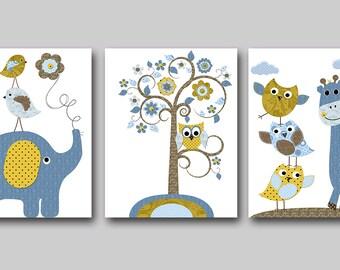 Owl Nursery Elephant Nursery Giraffe Nursery Baby Boy Nursery Decor Children Art Print Baby Nursery Print Boy Print set of 3 Blue Brown