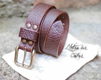 brown genuine leather belt handmade