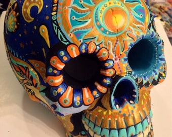 Colorful Skull-pture handpainted by Lala ArtCore