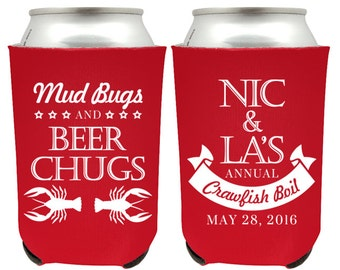 Mud Bugs and Beer Chugs Custom Crawfish Boil Party Favor Beer Can Coolers, Personalized Crawfish Lobster Party Favors for Crawfish Boil (35)