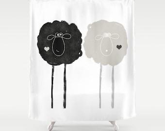 Sheep Shower Curtains Yin Yang Black and White Bath Decor Love Gift Yoga Nature Animals Funny Bathroom Cottage Apartment Woodland