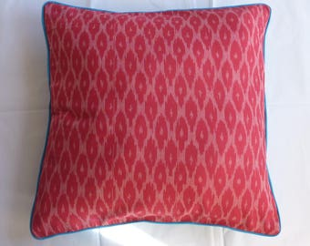 Ikat Pink and Blue Throw Pillow, Cushion, 50x50 with Blue Piping, 100PCT cotton, filling included [Extra 20% off with voucher]