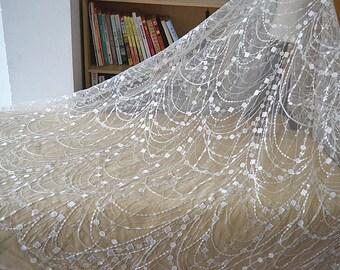 Width 53.14 inches wedding lace fabric,milk white flowers embroidered lace,floral 3D lace fabric,lace for DIY dress,Width 135CM(120-237)