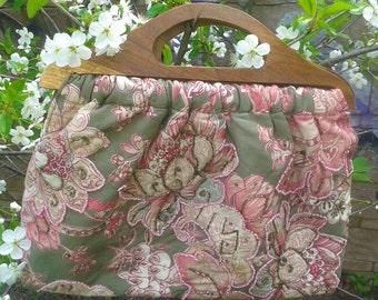 BOHO pink floral  handbag Woven Embroidered tote bag Beads embroidery bag Hippie Bag ECO cotton summer Beach bag Wood handle bag Vegan bag