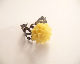Yellow Ring, Flower Ring, Bronze Ring, Dahlia Ring, Adjustable Ring