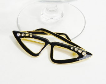 Vintage 50s 60s Cat Eye Enamel & Rhinestone Black Gold Cat Eye Glasses Brooch Pin