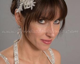 Crystal Rhinestone Lace Hair Comb, Rhinestone Headpiece, Bridal Birdcage Fascinator - Milena