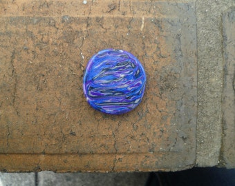 Purple-Blue rainbow polymer clay cabochon-FLAT TOPPED-STRIPED