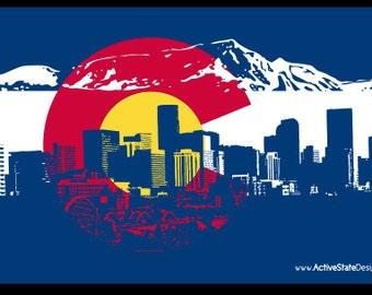 Colorado Flag Denver Skyline Sticker