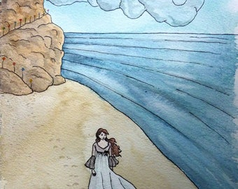 "Card watercolor Beach - series ""dreams of children"" A5 * watercolor card The beach ""Childrens' dreams"" collection - A5 *."