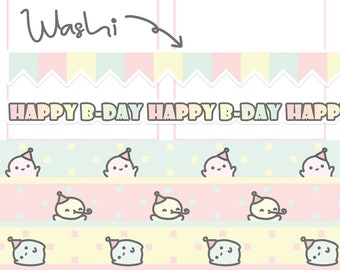 Cute Birthday Washi Tape/ B-Day Planner Sticker/ Birthday Masking Tape/ Birthday Flag/ Birthday Planner Sticker/ Party Banner/ Birthday A077