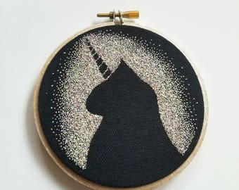 Unicorn Cat Embroidery Hoop, 4 inch embroidery hoop, rainbow, negative space, pointillism, embroidery art, hand embridery, unicorn, cat