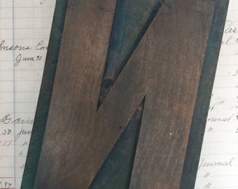 "Wood letterpress Letter N  - 6"" tall - Antique WOODEN Letterpress Printing block- wood number"