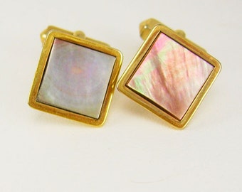 Vintage wedding cuff links Square Abalone formal wear Cufflinks Goldtone Birthday Wedding Business Signed Swank estate mens jewelry