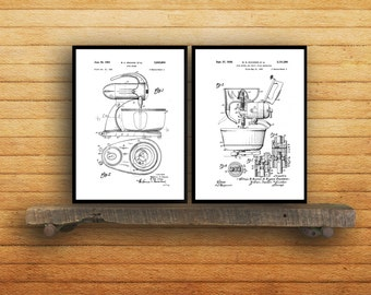 Kitchen Appliance Patent Prints - Set of 2 - Kitchen Decor - Kitchen Mixer Art - Kitchen Decor - Vintage Kitchen Art
