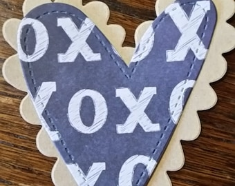 Double Heart X's & O's Embellishments, Gift Tags, etc - 6 Tags, Valentine's, Heart, Gift Tag, Scrapbook