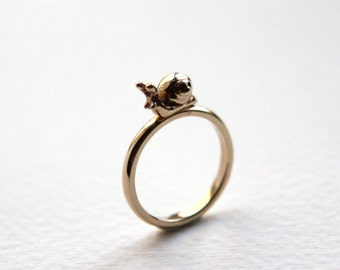Snail Ring, Gold Snail, Gold or Silver Band, Handmade Precious Snail Ring, Made in UK
