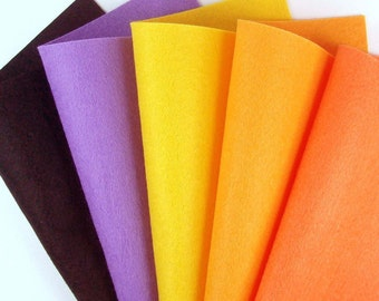 5 Colors Felt Set - Halloween - 20cm x 20cm per sheet