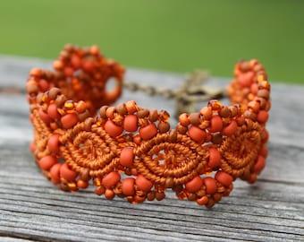 Micro-Macrame Cuff Bracelet. Modern Macrame. Beaded Cuff. Orange Bracelet. Orange Macrame Cuff. Statement Jewelry. Boutique Fashion Piece.