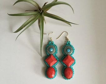 Boho Inspired Turquoise and Red Bead Embroidered Earrings