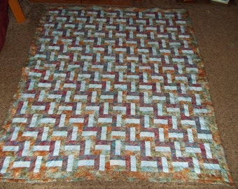 50% Deposit - QUEEN QUILT - Custom Made Quilt - Rail Fence Quilt - Queen Size Quilt  - Supply Your Own Fabrics - DEPOSIT Only
