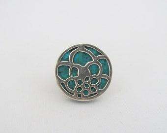Vintage Artisan Sterling Silver Turquoise Floral Filigree Ring Size 9