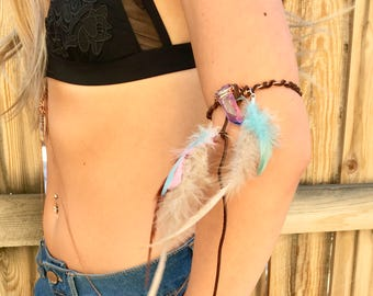 Bohemian Feather Arm Band or Bracelet