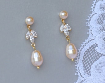 Gold Pearl Earrings, Pearl Bridal Earrings, Gold Crystal Pearl Drop Earrings, HAYLEY PP