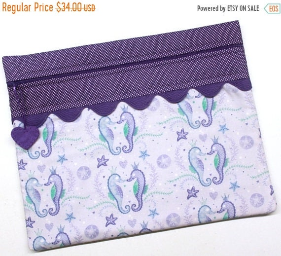 SALE Purple Sea Horse Cross Stitch Embroidery Project Bag