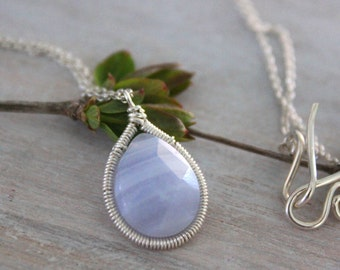 Blue Lace Agate Dainty Necklace - Gemstone Necklace - Silver Chain -Silver Jewelry -Mothers Day Gift