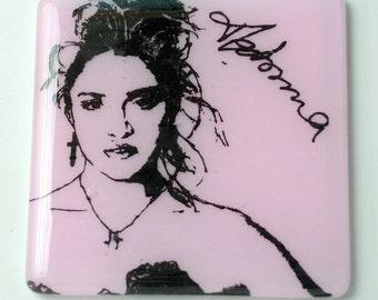 Madonna Singer Songwriter Actress Activist Fused Glass Coaster 1980s MTV Feminist