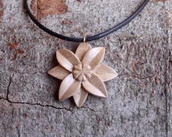 Mountain Flower Pendant in handmade Italian Walnut