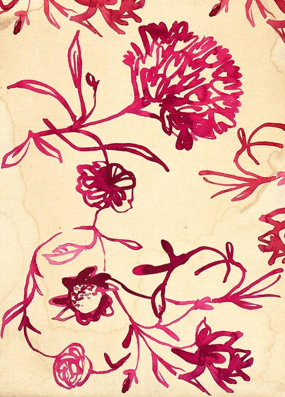 Pink Ink Floral Pattern Wall Art Print Botanical