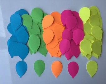 Neon Balloon Confetti - Neon Balloon Die Cuts - Neon Party Decor - Birthday Party Confetti - Choose Your Color