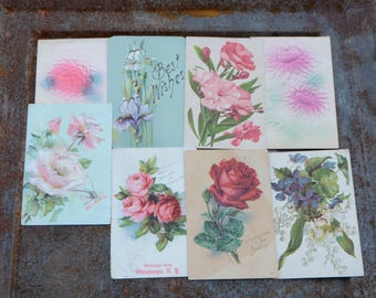 Vintage Flower Postcards, Set of 8 Vintage Postcards with Flower Designs, Great for Craft Projects and Spring Wedding Decor