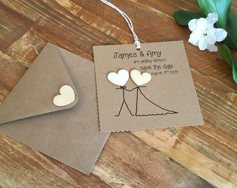 Save the date wedding cards rustic personalised and hand made