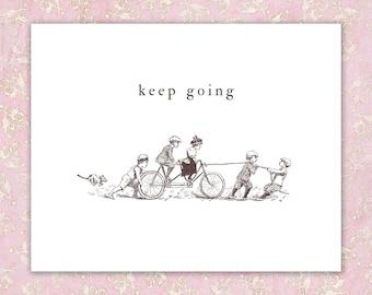 Cute Motivational Art Print, bicycle children print, keep going