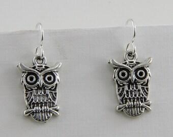 Hand Made Earrings Pewter Owls  Steel Hooks 1 Inch long