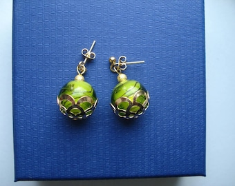 Green and gold stud earrings