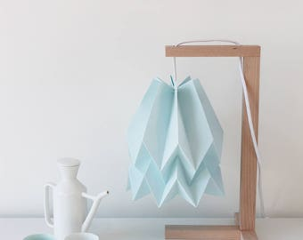 Table Lamp| Origami Lamp | Paper Lamp for Bedroom or Living| Orikomi Table Lamp Plain Mint Blue with Wooden Structure |FREE SHIPPING*