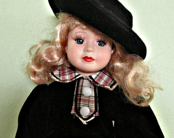 Vintage Collectible Porcelain Doll, Blonde hair Doll, Home Decor