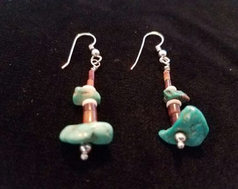 Dangle Earrings, Oyster Shell, Penn Shell, Two Turquoise Nuggets