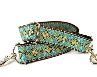 Guitar style bag strap  Handmade Adjustable Tapestry Jacquard Design Blue
