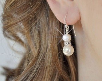Drop Pearl Bridal Earrings, Simple Wedding Earrings, Pearl Earrings, Wedding Jewelry