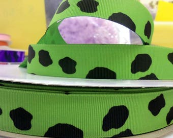7/8 inch x 10 yards Grosgrain Ribbon..Cow Print-Lime--On Sale Now...FREE SHIPPING