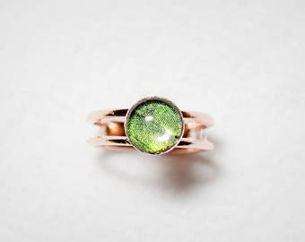 Real Butterfly Wing Ring - Real Butterfly Jewelry - Real Butterfly Ring - Rose Gold Ring - Gold Ring - Gift for Her - Green - Sunset Moth
