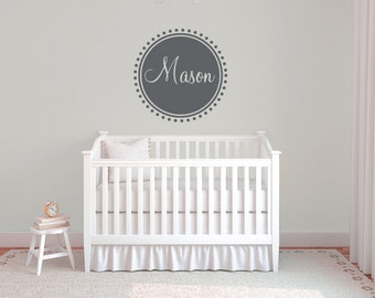 Personalized name wall decal, Nursery wall decal, Baby wall decal, Nursery decor, Boys room decor, Wall stickers for bedroom, Circle DB363