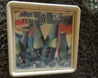 """1983 Lowenbrau beer light Miller brewing Co. Milwaukee WI. Awesome 18"""" x 18"""""""