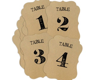 Rustic Wedding Table Numbers - fancy die cut bracket shape - Kraft, White, Gray, Thyme, Rose, Cream, Saffron